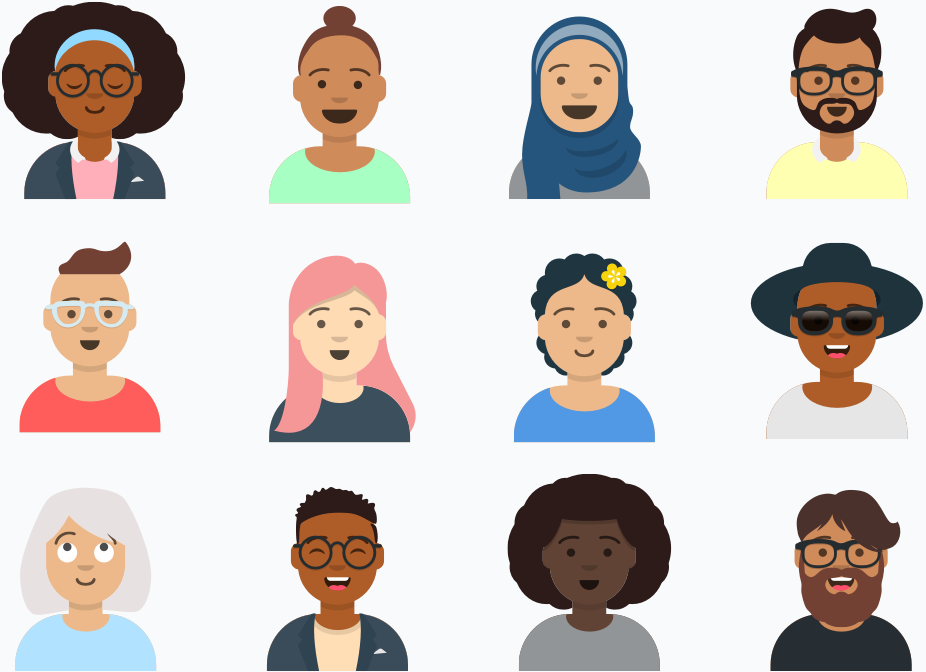 Illustration representing diverse people